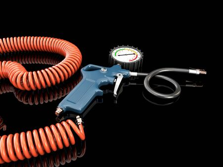 3d Rendering of air compressor gun with manometer isolated on a gray background.