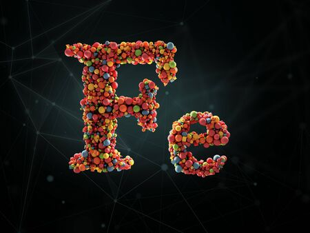 Mineral Fe, Mineral Vitamin complex with Chemical formula . 3d illustration.