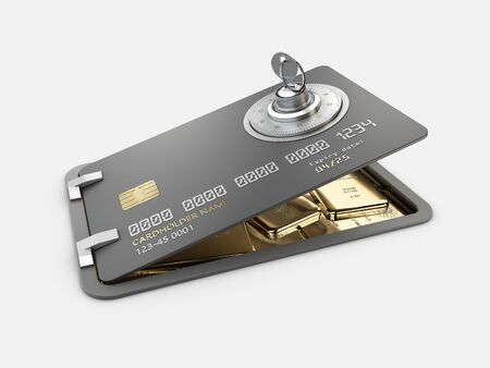 3d Rendering of Opened Credit Card with gold bars, Card Protection concept, clipping path included Reklamní fotografie