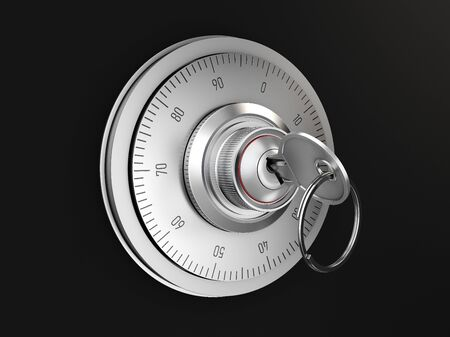 Realistic combination safe lock. Isolated on black background. 3d Illustration