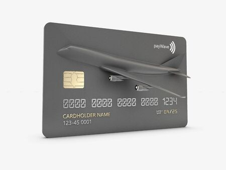 3d Rendering of Miles bank premium card with airplane. concept sale tourism in holiday vacation.