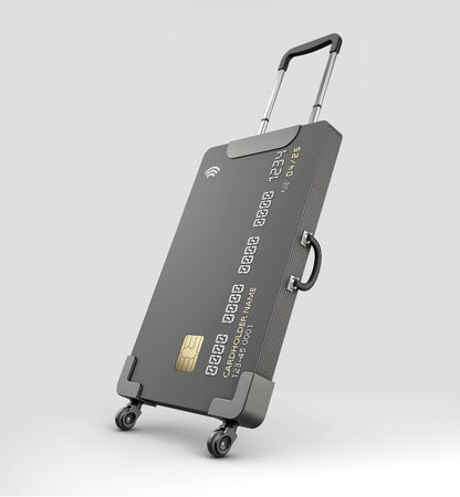 3d Rendering of Credit Card Suitcase on gray background