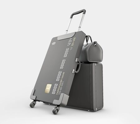 3d Rendering of Credit Card Suitcase with luggage