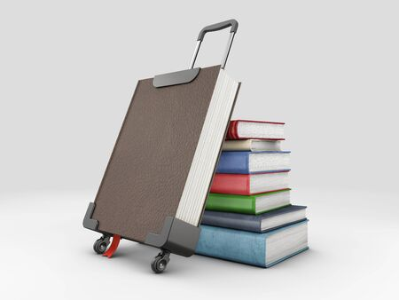 3d Rendering of Book Suitcase and stack of books 版權商用圖片