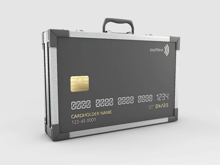 3d Rendering of Credit card in the form of a metallic case.