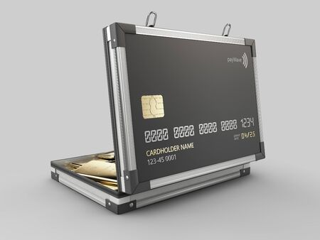 3d Rendering of Credit card in the form of a metallic case with gold bar 版權商用圖片
