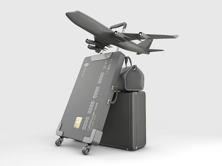 3d Rendering of Credit Card Suitcase with luggage and airplane 版權商用圖片