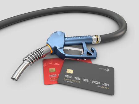 3d rendering of Fuel petrol gun with hose isolated on white background
