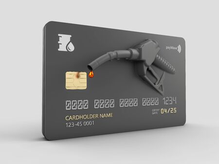 3d Rendering of Realistic credit with fuel hose gas station concept 版權商用圖片