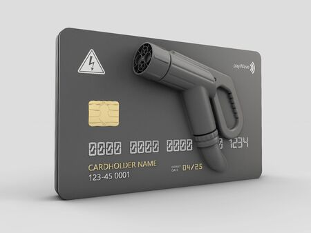 3d Rendering of Realistic credit card with nozzle charging plug 版權商用圖片