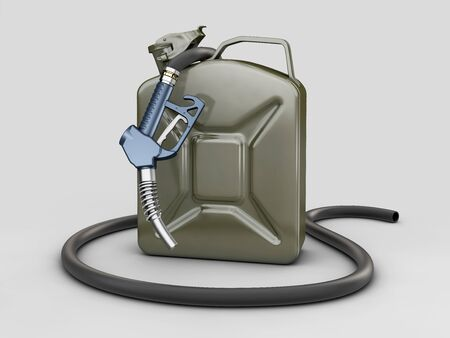 3d rendering of Gun for fuel pump and jerrycan of fuel