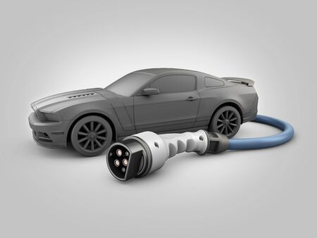 3d Rendering of Realistic nozzle charging plug with car 版權商用圖片