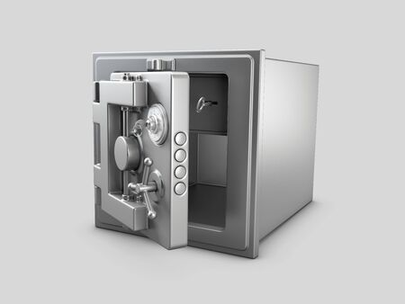 3d Rendering of Security metal safe with empty space inside 版權商用圖片