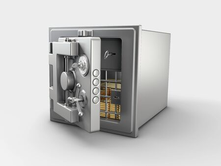 3d Rendering of Security metal safe with gold bars inside