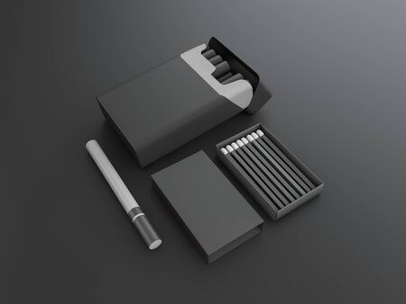3d Rendering of cigarettes and matches on black background.