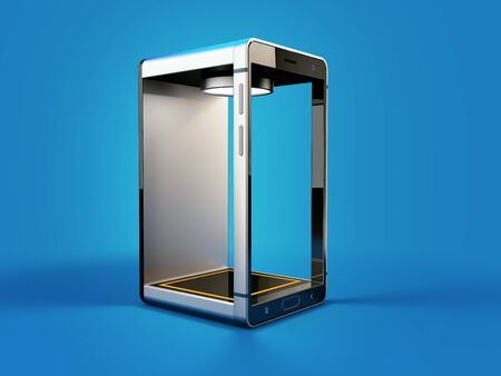 3d rendering of smartphone, phone box shape
