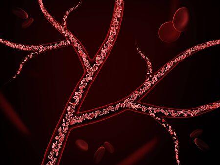 3d Illustration of red blood cells in vein on black background