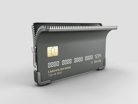 3d Rendering of Credit card with zipper clipping path included
