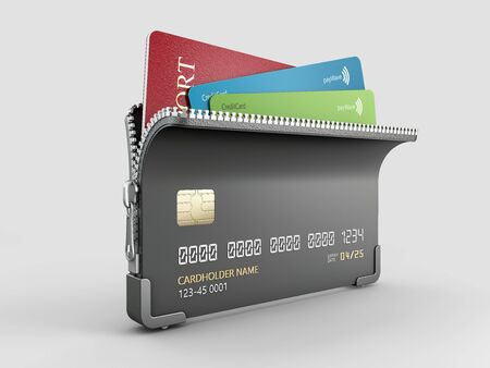 3d Rendering of Credit card with zipper and passport inside, clipping path included