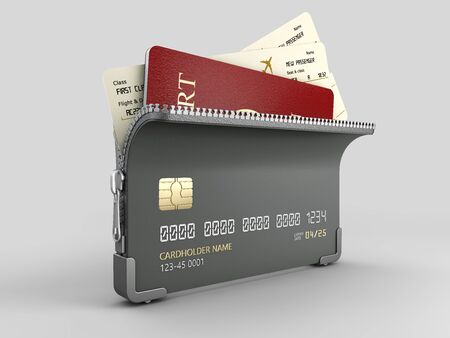 3d Rendering of Credit card with zipper and passport with tickets inside, clipping path included