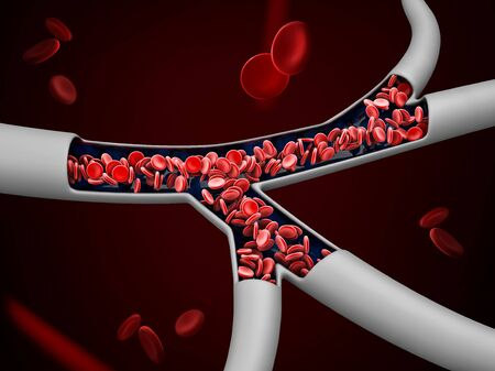3d Illustration of red blood cells in vein, clipping path included