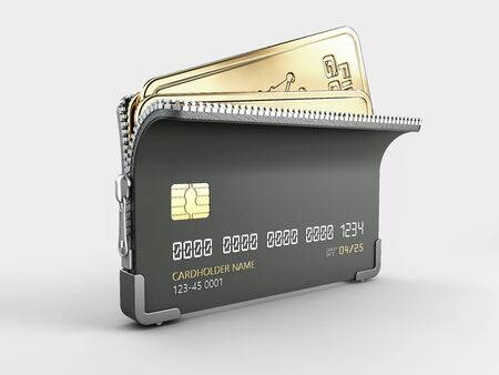 3d Rendering of fine gold ingots and credit cards on gray, clipping path included Stock Photo