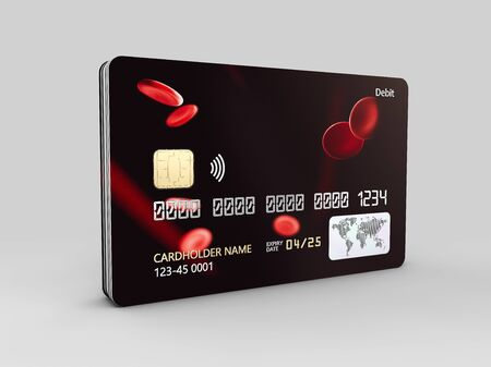 3d rendering of Credit Card with Abstract Blood Pattern on gray background