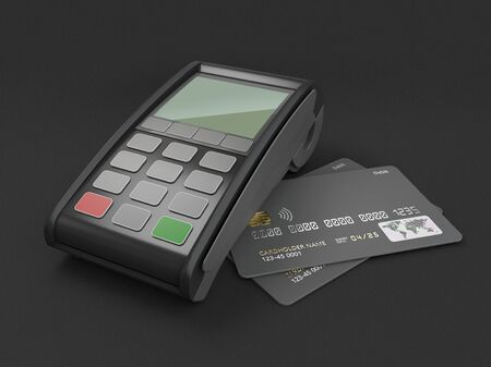3d Rendering of payment terminal with card, clipping path included