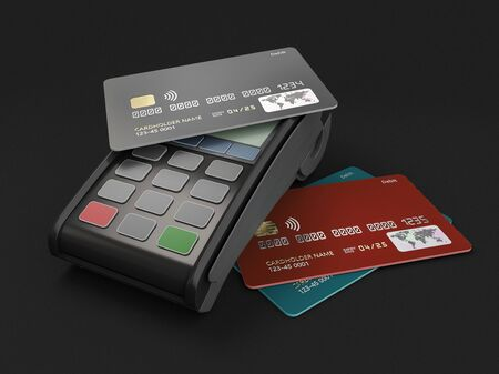 3d Rendering of payment terminal with cards, clipping path included
