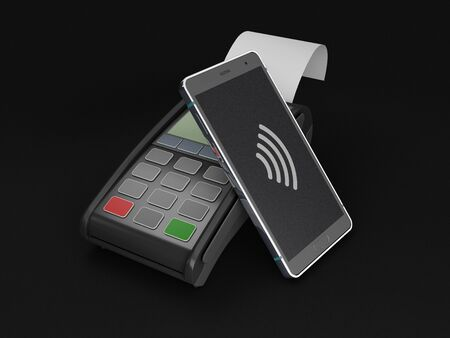 3d Rendering of mobile payment ,online shopping concept, clipping path included