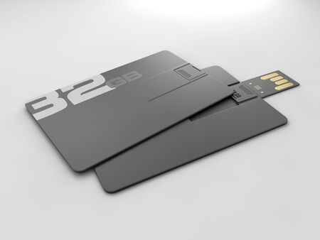 3d rendering of plastic usb card mockup, Visiting flash drive namecard mock up for 32 Gb clipping path included.