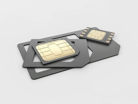 Sim card, micro - sim card, nano - sim card and eSim card set, clipping path included Stock Photo