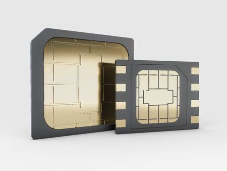 3d rendering of Sim card, micro - sim card, clipping path included Stock Photo
