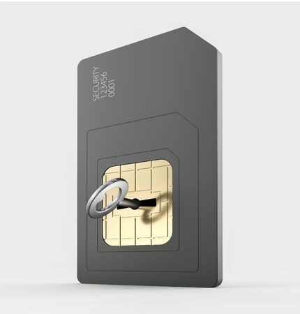 3d render of simcard protection concept, isolated white