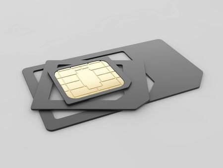 SIM card in different sizes, standard, micro and nano - 3D illustration, clipping path included
