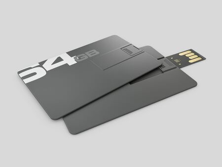 3d rendering of plastic usb card mockup, visiting flash drive namecard mock up for 64 Gb, clipping path included. Stock Photo