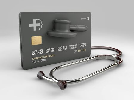 3d rendering of credit card with stethoscope. The concept of paid medicine