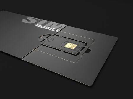 3d rendering of Sim card, clipping path included Stock Photo