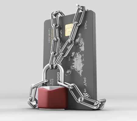 3d rendering of credit card with chains and pad lock, cplipping path included