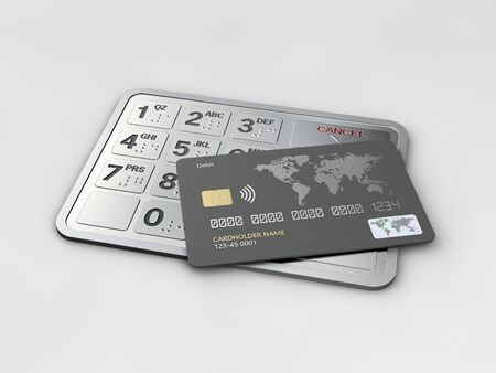 3d Rendering of credit card on the atm buttons. Business and finance, clipping path included