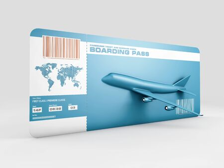 Variant of air ticket isolated on white. 3d illustration Stock Photo
