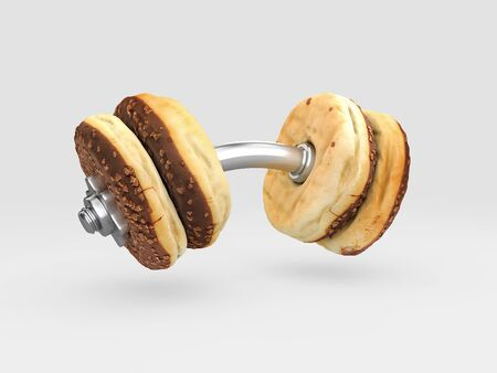 3d rendering of food dumbbell, the choice between sports and fast food Stock Photo