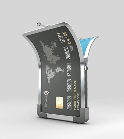 3d Rendering of Open Credit card Stock Photo