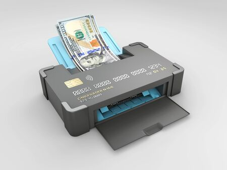 3d render of credit card with a dollars bills, isolated white background