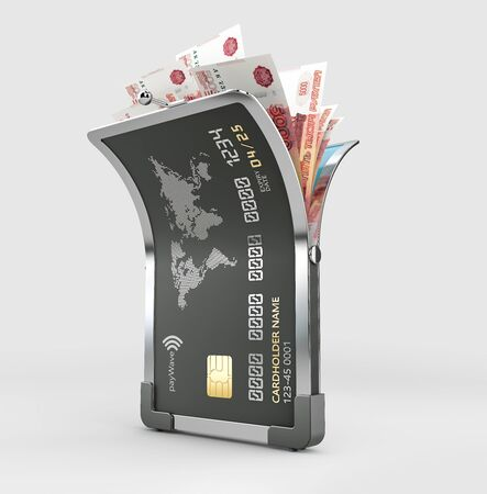 3d Rendering of Open Credit card with Russian rubles banknotes Stock Photo - 143655427