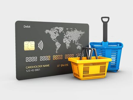 3d rendering of Credit card and shopping basket