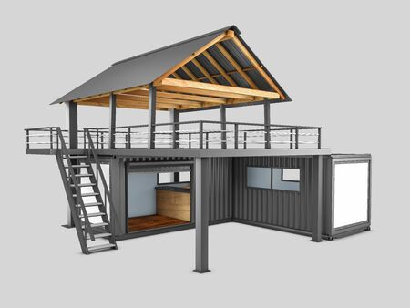 3d rendering of Converted old shipping container, isolated gray