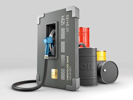 3d Rendering of Realistic credit with fuel hose petrol station concept Stock Photo