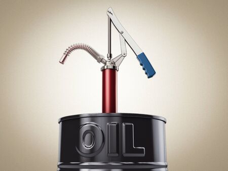 3d Rendering of Hand lever action barrel pump for oil fuel transfer