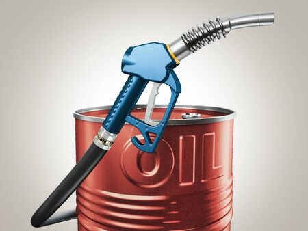 3d Rendering of gas pump nozzle and oil barrel Stock Photo